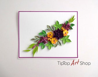 Homemade Birthday Quilling Card with Paper Flowers; Anniversary Card for Mom; Quilled Mother's Day Card