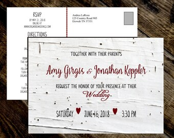 Wedding Invitation Postcard with RSVP & Directions Birch Wood Rustic Wedding Invitation Set