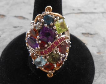 Michael Valitutti Theater District Sterling Silver Palladium 18k Gold Multi Gemstone Ring Size 7