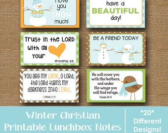 Winter Lunch Box Notes |  Christian, Scripture Lunch Box Notes | January Lunchbox Cards | Kids Printable Lunch Love Notes | DIY PRINTABLE