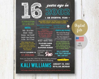 16th birthday gift for son - Fun Facts 2002 sign - Personalized 16th Birthday Gift Idea for brother, him, boyfriend, boy - DIGITAL file!