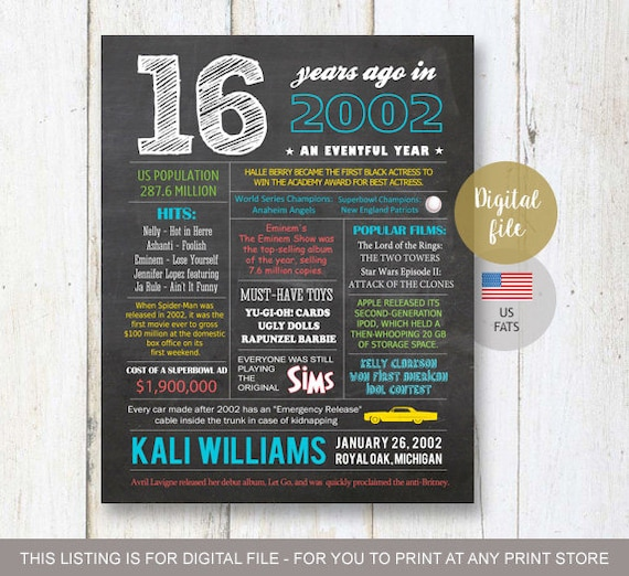 16th Birthday Gift For Son Fun Facts 2002 Sign