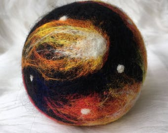 Needle felt ball. Felted wool ball. Outer space wool ball. Natural play feiry orange and red wool felted ball.