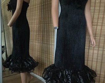 Vintage 1980's Black Pleated Silk Dress, Organza Frilled With Clear Sparkly Cristals 8 Uk