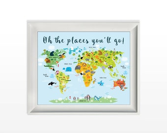025 Oh the Places You'll Go Animated World Map Print Modern Wall Art Inspirational Quote Printable 8x10 jpg and pdf file INSTANT DOWNLOAD