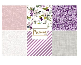Purple and Grey Flowers and Lace Crib Bedding - Nursery Decor and Baby Bedding - Fitted Crib Sheet, Crib Skirt, Boppy Cover - Baby Girl