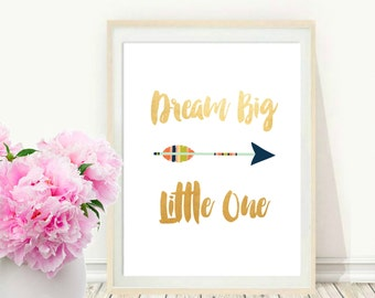 Dream Big Little One, Printable Wall Art, Dream Big Printable, Nursery Art, Instant Download, Nursery Decor