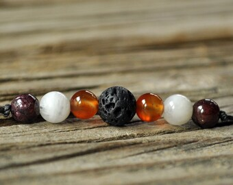 Lava Bracelet, Diffuser Bracelet, Carnelian, Moonstone, Garnet, Aromatherapy, Essential Oil Diffuser Bracelet, Yoga, Diffuser Jewelry