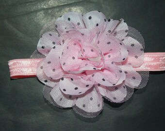 Pink with Black Polka Dots Chiffon Flower with Pink Lace Boutique Headband (13.5 inches Normally Fits NB-6M)