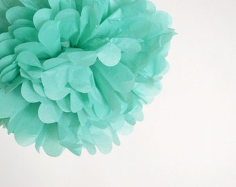 paper pom pom: turquoise blue green tissue paper pom pom party decor, nursery decor, cake smash