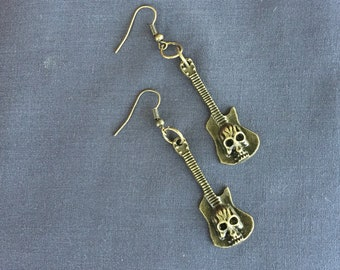 Very Cool Goth Style Bronze Guitar w/ Skull earrings!