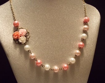 Pink Rose and Pearl Necklace