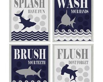 Shark Bathroom Wall Art, Kids Bathroom, Wash, Flush, Brush, Splash, Navy Blue and Gray Decor, Shark Bathroom Theme, Shark Art, Boy Bathroom