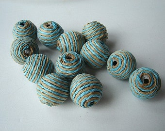 Paper Bead Balls - Twelve - (12) Striped Paper Cord