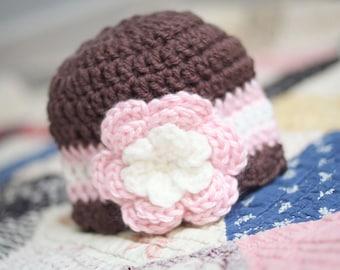 Crochet Baby Hat / Newborn Girl Hat / Girls Beanie / Crochet Girls Hat / Baby Shower Gift Girl / Girls Winter Hat / Toddler Girl Hat