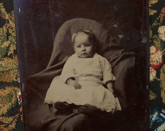 5 x 7 Tintype, Half Plate - Baby in the Lap of Luxury