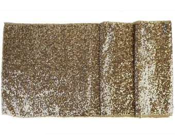 "Sequin Table Runner Solid Champagne 12""x108""-Just Artifacts Brand-Item SKU:LTR120001- Metallic Table Runners for Weddings, Parties, & Events"