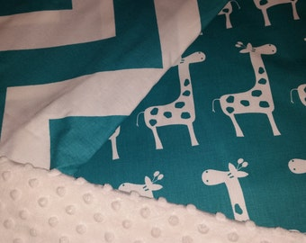 Teal and White Giraffe, Chevron and minky dot 4 piece crib set