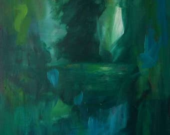 Original abstract landscape painting, nature greenery, green painting, grüne malerei, Natur, Grün,