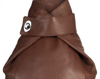 LiaTalia Large\Medium Sized Genuine Italian Leather Twistlock Detail Backpack Bag with Protective Dust Bag - Willow [Dark Tan]