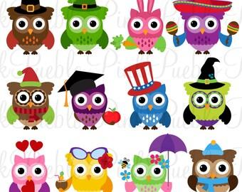 Holiday Owl Clipart Clip Art, Seasonal Owls Clipart Clip Art Vectors - Commercial and Personal