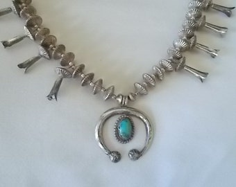 """Vintage~Native American~Squash Blossom~Necklace~Choker~Sterling Silver~Turquoise~20 1/2"""" Long~66gm~Mans~Womans~925~Fine Jewelry~Nice"""