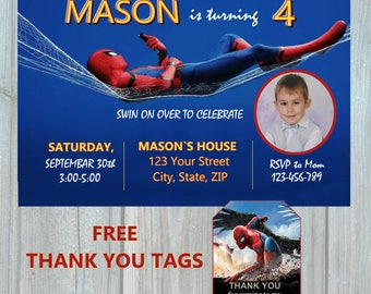 Spiderman Homecoming 2017 Birthday Invitation, Thank You Tags, Spider man photo Party Invitation,