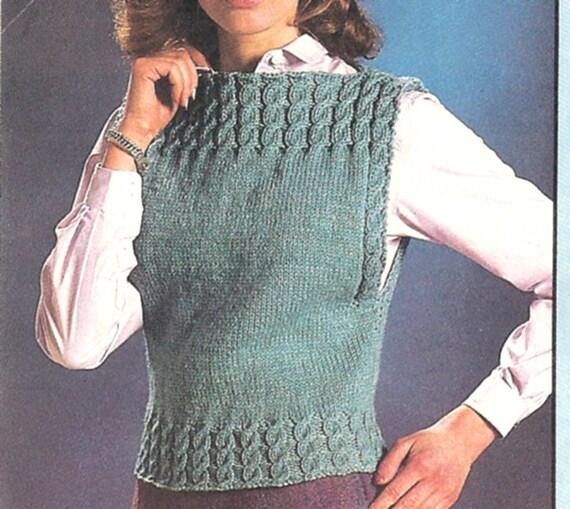 Boat Neck Cable Vest Knitting Pattern Pdf Pattern Download