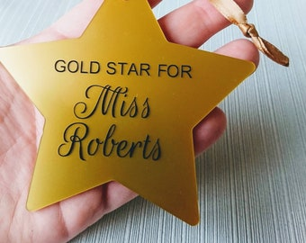 Gold star for teacher, personalised teacher gift, end of term present, mini gold plaque