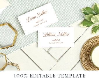 Script Place Cards Etsy - Wedding place card template word