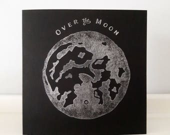 """Moon Print Greeting Card //  Over the Moon Card // Congratulations Card // New Home // New Baby // Wedding //  14 cm x 14 cm / 5.5"""" x 5.5"""")"""