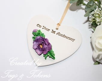 Anniversary Hanging Heart Ornament. First Anniversary Gift (I can create others) . Clay hanging heart anniversary gift. Hand painted