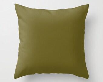 Antique Bronze Pillow, #665D1E, Solid Brownish Green Throw Pillow, Solid Brown Pillow, Modern Pillow, Minimalist Decor, Minimalist Pillow