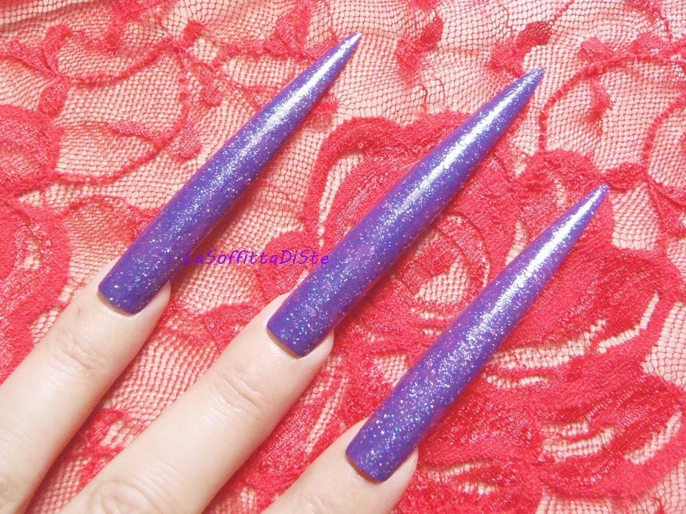 24 long indigo false nails glitter purple stiletto nails
