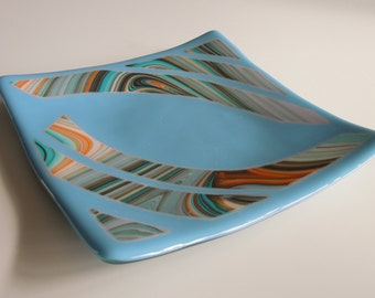 """8""""x8"""" Blue Plate with Tropical Swirl Accents"""
