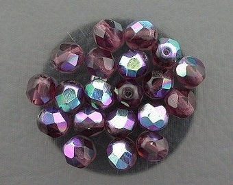 20 amethyst  ab czech fire crystal faceted beads 6mm