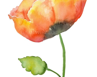 Orange Poppy Watercolor Painting Giclee Print - 5 x 7 - Floral Flower Fine Art