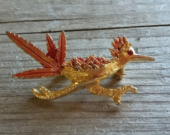 Vintage Roadrunner Brooch-Gold and Pink Roadrunner with Rhinestone Eye-Antique Roadrunner-Free Shipping-Gift Box Included