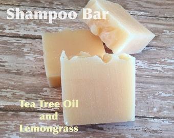 Tea Tree Oil Lemongrass Shampoo Bar Lush Homemade Soap Thin Textured Thick Hair Coconut Jojoba Oil and Shea Butter