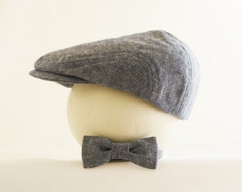 Navy linen flat cap and bow tie set, baby newsboy cap and tie set, cotton linen newsboy hat and tie, baby boy photo prop - made to order