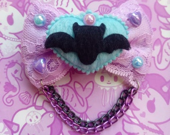 Purple or Pink Lace Pastel Goth Bat Bows