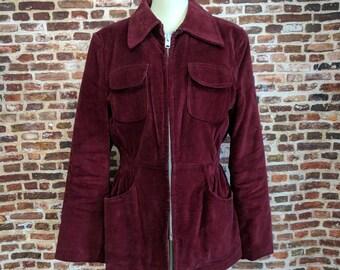 Vintage Corduory Coat Burgundy William Barry Mod Jacket 60's 70's Women's Size Medium Winter