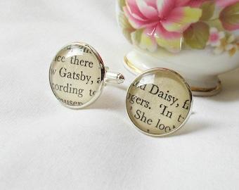 The Great Gatsby Cuff Links - F Scott Fitzgerald Bridal Cufflinks Geekery - Wedding Groom Literature Bookworm Gift - Daisy Buchanan Jay