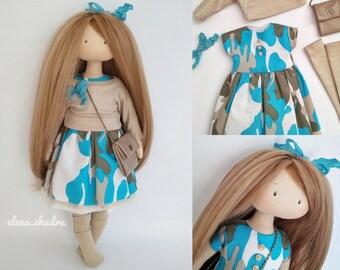 Handmade Gifts. For mom. Textile doll. Fabric doll. Soft doll. Cloth Collectable Rag doll. Dolls ElenShudra. Tilda doll. Art doll