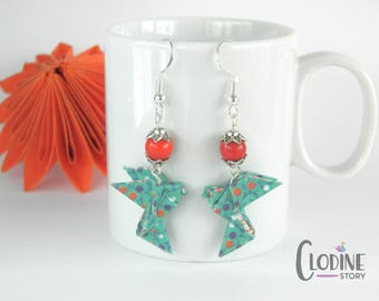 Teal origami dove earrings, Dove, Origami earrings, Paper jewelry, Origami dove, Bird, Handmade, Paper, Pendants, Kawaii, Cute, Japanese