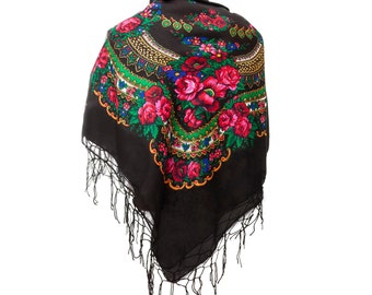 Big BLACK folk SCARF shawl with flowers and fringes POLISH scarves fashion colors