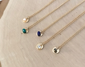 Bella Necklace. - Dainty 14k Goldfill Disc Necklace with Gemstone