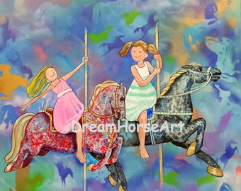 """Carousel Horses with Children, Original Painting, Large 36"""" x 36"""" x 2"""" canvas, whimsical art by artist M Theresa Brown, Dream Horse Art USA"""