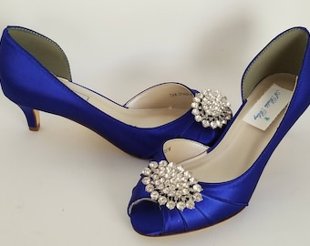 Blue Wedding Shoes with a Crystal Oval Design Blue Bridal Shoes Blue Kitten Heels 100 COLOR CHOICES Cobalt Blue Shoes Royal Blue Shoes