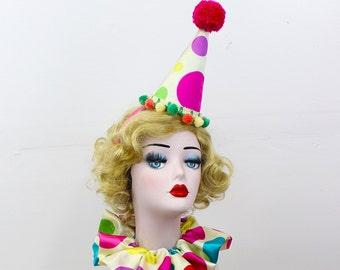 Mini Clown Hat, High Fashion, Birthday Party Hat, Halloween Costume, Vintage Clown, Burning Man, Circus Costume, Polka Dot Clown Costume